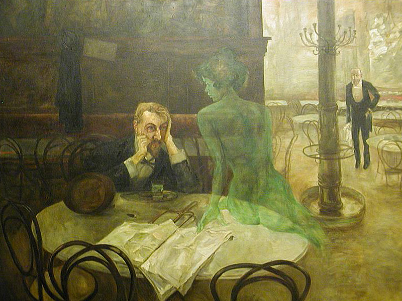 Viktor Oliva - The Absinthe Drinker. The original painting can be found in the Café Slavia in Prague.